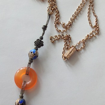 Carnelian silver gilt blue enameled beads pendant.  - Fine Jewelry