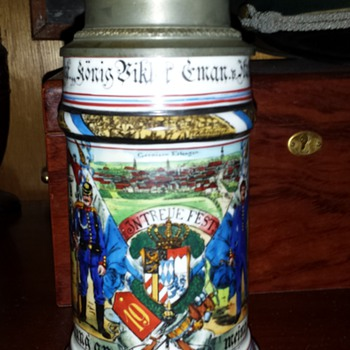 Imperial German Reservists stein of Tambour Adolf Thoma - Breweriana