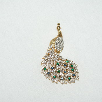 Peacock Rhinestone Brooch - Costume Jewelry