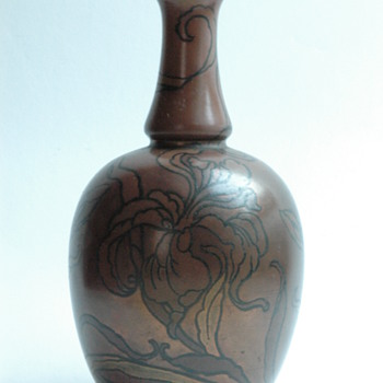 BOCH FRERES KERAMIS  art nouveau vase  with metallic glaze and floral pattern
