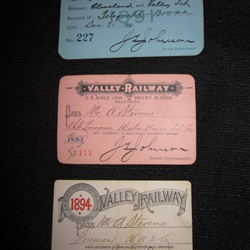 Valley Railway Annual Passes (1891, 1893, and 1894) - Railroadiana