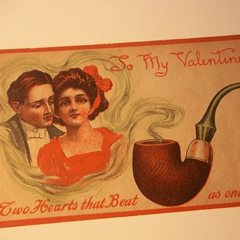 "Vintage Valentines With Strange Choices For ""Love Related"" Reference. HOT DOG & PIPE"