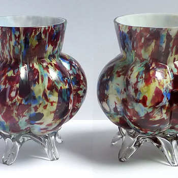 Welz Rainbow 'Decoupage' Footed Vase Pair - Art Glass