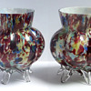 Welz Rainbow 'Decoupage' Footed Vase Pair