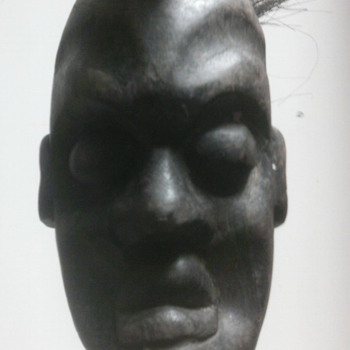 African  Wood Statue with hair