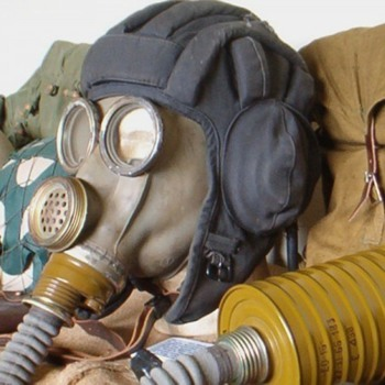 Russian tank commander helmet & communications gasmask