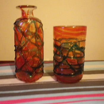 Mdina Glass marked Vase and decanter type vase with varying colours and twisted glass on outer body. - Art Glass
