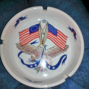 American Flag And Eagle Ashtray