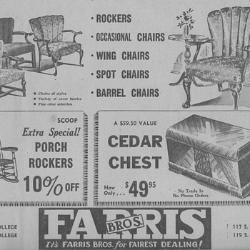 1945 - Farris Furniture Advertisement - Advertising