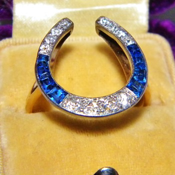 Antique Vicorian Diamond Ceylon Sapphire 18k 750 Plat Top Ring - Fine Jewelry