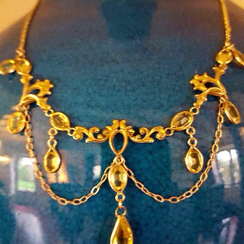 1890' citrine festoon necklace.