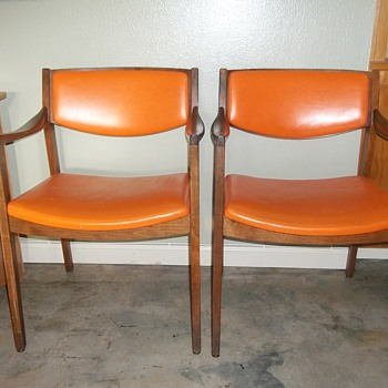 (2) Orange Gunlocke walnut arm chairs
