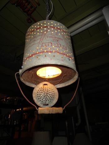 Galvanized minnow bucket hanging light collectors weekly for Galvanized well bucket
