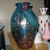 Beautiful Blue vase with gold flecks
