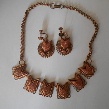 vintage necklace and earrings - Costume Jewelry