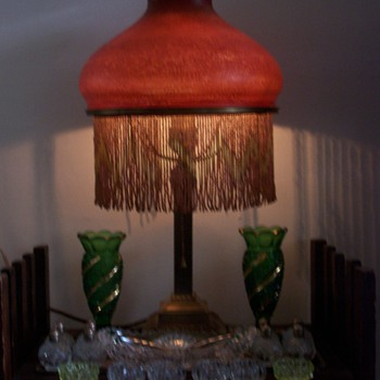 Rare blood red Handel Mosserine shaded lamp.