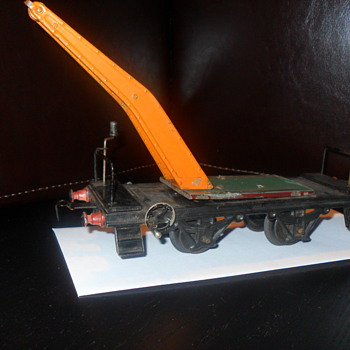 Vintage train car with partial crane - Model Trains
