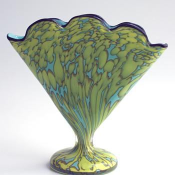 WELZ Scalloped Fan Vase...baby blue with light green/yellow spots - Art Glass