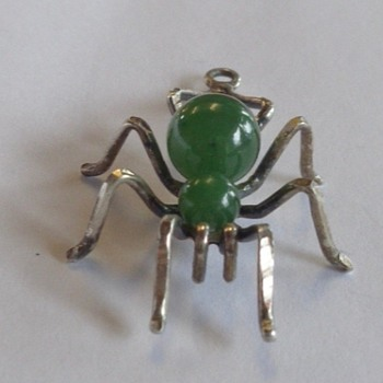 Sterling & Jade Spider Pendant