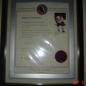 sighned bobby orr jersey from hockey hall of fame letter of authenticity - Hockey