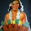 Libbys Pineapple Hawaiian Hula Girl Supermarket Stand Up Cardboard Display Pin Up