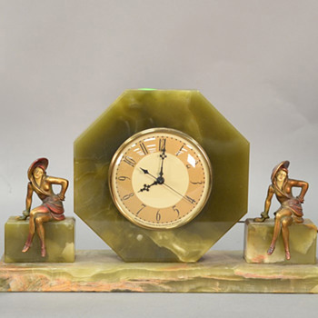 1928 J B Hirsch/Whitehall Hammond Green Oynx Sophisticated Lady Clock Set - Art Deco