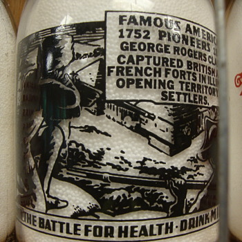 """Famous American Pioneers"" Milk Bottle.................."