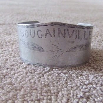 WW2 Pacific theater, aluminum trench art bracelet  - Military and Wartime