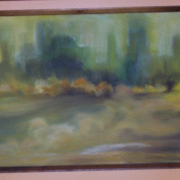 Oil on Canvas Chicago Artist Barbara Spitz Mid Century Modern circa 1960-65