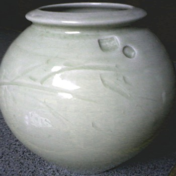 Unusual Pale Celadon Green Ceramic Vase /Impressed and Incised Designs / Signed / Unknown Make and Age