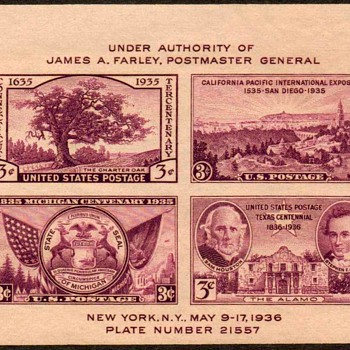 "1936 - ""Philatelic Exhibition"" Souvenir Sheet (US) - Stamps"