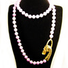 Vintage Les Bernard Dragon Clasp Purple Bead Necklace