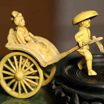 Antique / Vintage Plastic / Celluloid Rickshaw with Lady