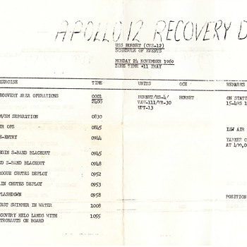 Apollo 12 Recovery Schedule