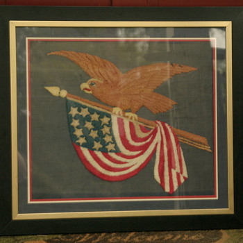 another patriotic Eagle and flag silk Folk Art or Americana piece - 13 stars - Folk Art