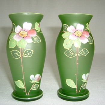 Goldberg Satin Glass Vases with Enamelled Wild Roses