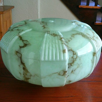 Czech? Art deco green marbled light shade