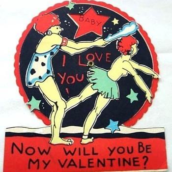 VINTAGE COMIC VALENTINE CAVE MAN CLUBS WOMAN!Art Deco Figural