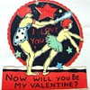 VINTAGE COMIC VALENTINE CAVE MAN CLUBS WOMAN!Art Deco Figural