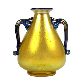 Loetz Gold Silberiris Vase with Blue Handles and Rim - Art Glass