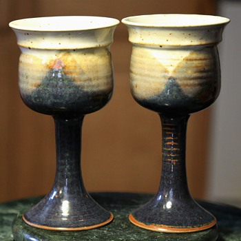 Pottery Goblets - Signed Marty Morgan - Art Pottery