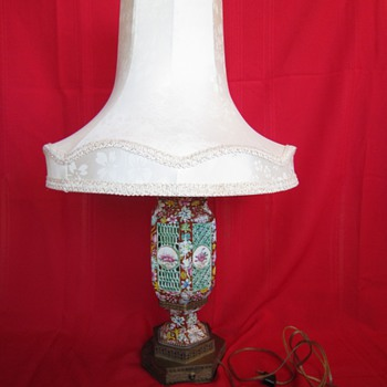 Antique Chinese Pierced Porcelain Table Lamp with Silk Shade