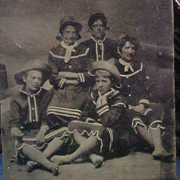 Victorian Tintype Photo of Ladies in Bathing Suits...