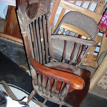 Snagged this free antique red leather seated rocking chair - Furniture