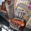 Snagged this free antique red leather seated rocking chair