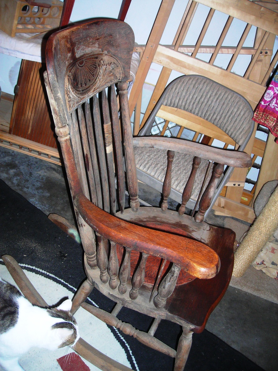 Red Leather Rocking Chair ~ Snagged this free antique red leather seated rocking chair