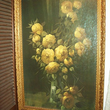 """Yellow Roses"" by Thomas Renolds. Lamont (1826-1898) - Folk Art"