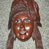HELP VINTAGE WOODEN CARVED ENAMEL GIRLS HEAD FOLK ART