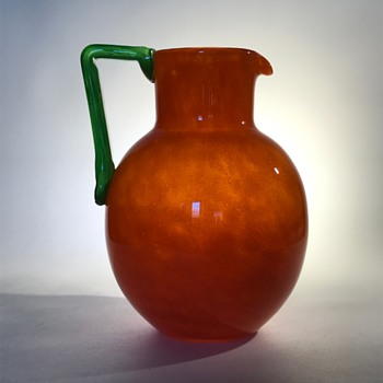 French Schneider Orange Pitcher or Jug with Green Handle