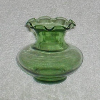 Green Ruffle-edge Bud Vase - Glassware